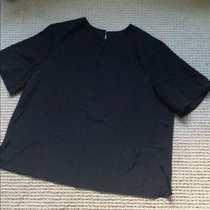 Boxy black short sleeve blouse